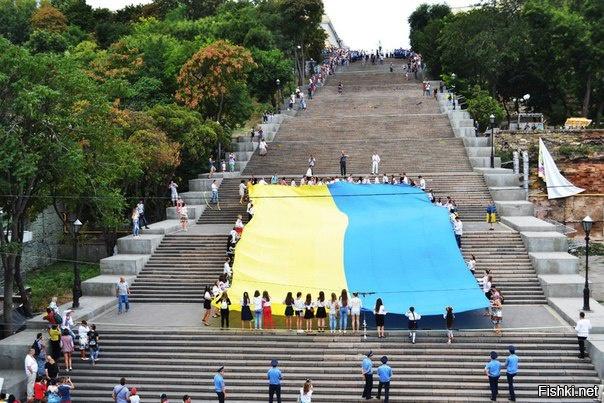 Одесситы пронесли 24-метровый флаг Украины по Потемкинской лестнице - Цензор.НЕТ 6219