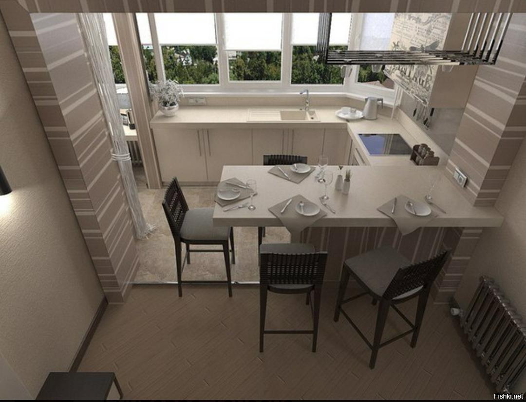 Кухня совмещенная с балконом дизайн - фото примеров оформлен.