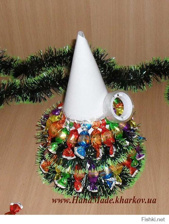 Сделать елку своими руками фото из конфет